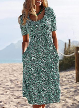 Casual Floral Tunic Round Neckline A-line Dress (4048703)