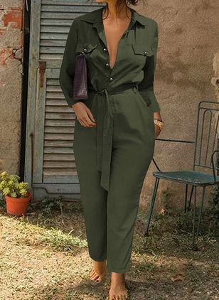 Casual Straight Buttons Pockets High Waist Polyester Pants Jumpsuits (146930727)