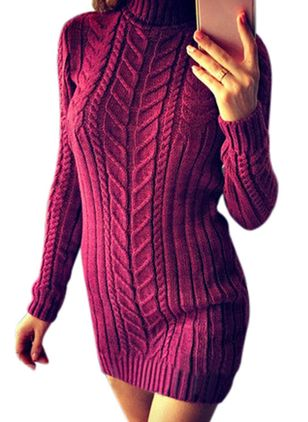 High Neckline Solid Sexy Tight Long X-line Sweaters (107563125)