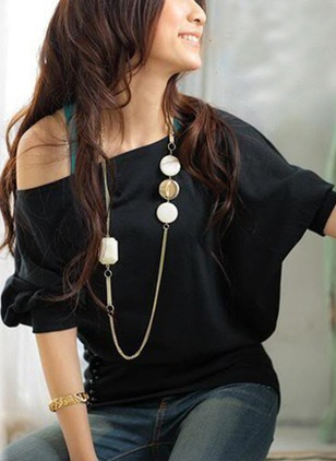Solid Casual Knitted Round Neckline Half Sleeve Blouses