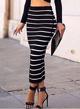 Cotton Blends Stripe Maxi Casual Skirts