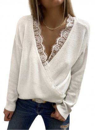 V-Neckline Color Block Casual Regular Lace Sweaters (146775052)