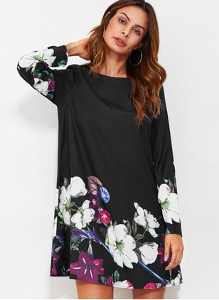Polyester Floral Long Sleeve Above Knee Dresses