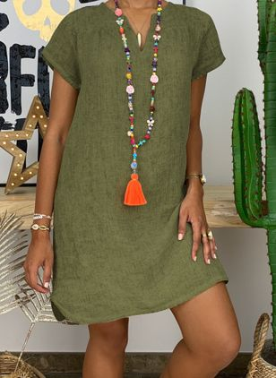 Casual Solid Tunic V-Neckline Shift Dress (4864817)