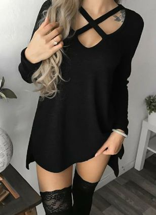 Solid Hollow Out Long Sleeve Above Knee Shift Dress