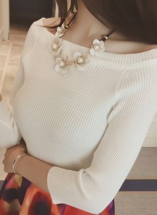 Solid Sexy Boat Neckline 3/4 Sleeves Blouses