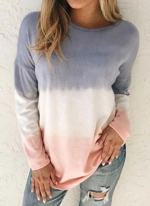 Color Block Casual Round Neckline Long Sleeve Blouses (104147529)