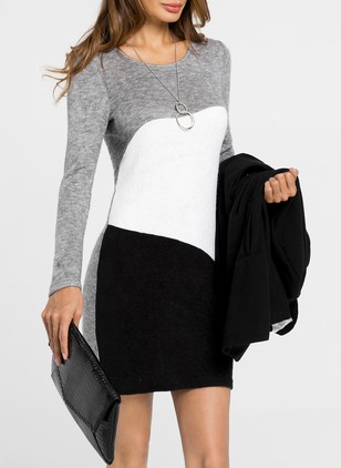 Color Block Shirt Long Sleeve Sheath Dress