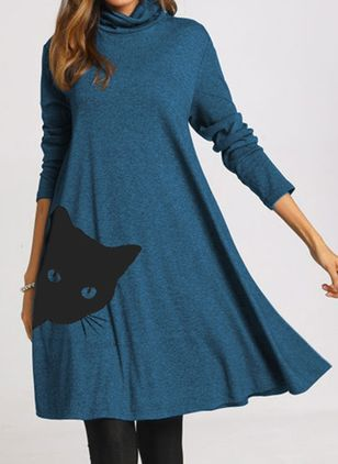 Casual Animal Tunic High Neckline A-line Dress (107520182)