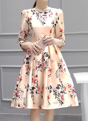Floral 3/4 Sleeves Knee-Length A-line Dress