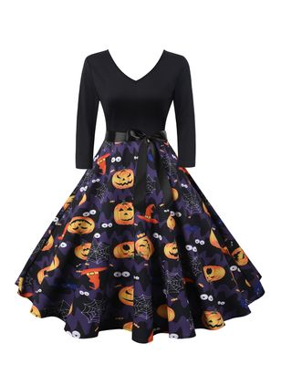 Halloween Color Block V-Neckline Midi X-line Dress (109973502)
