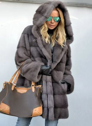 Long Sleeve Hooded Pockets Fur Coats (146799249)