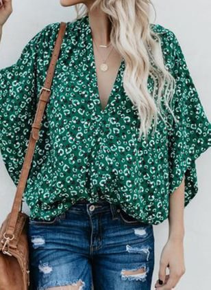 Polka Dot Casual V-Neckline 3/4 Sleeves Blouses