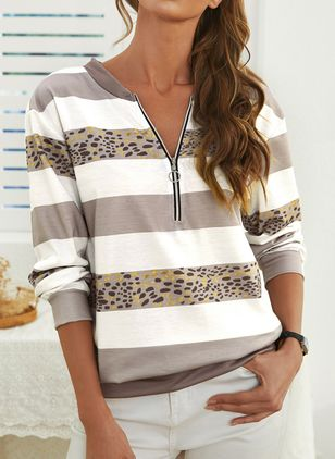 Round Neckline Leopard Casual Loose Regular Zipper Sweaters (146783445)