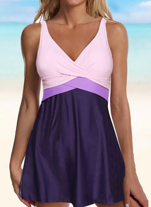 Polyester Color Block Knotted Tankinis Swimwear (147151338)