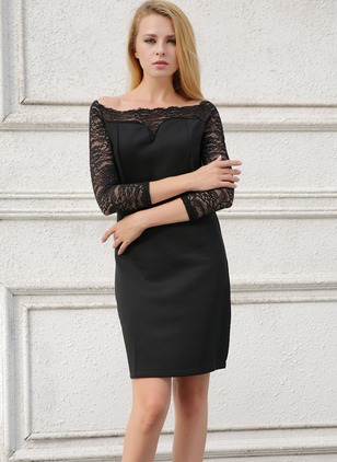 Solid Lace Boat Neckline 3/4 Sleeves Sheath Dress