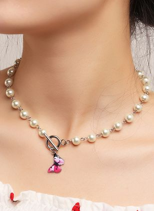 Casual Animal Pearls Pendant Necklaces (107805632)
