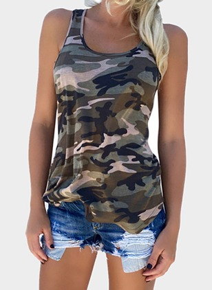 Polyester Color Block Round Neck Sleeveless Casual T-shirts