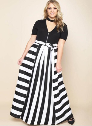 Polyester Stripe Maxi Casual Skirts