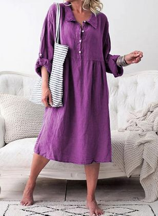 Casual Solid Tunic Collar A-line Dress (4864836)