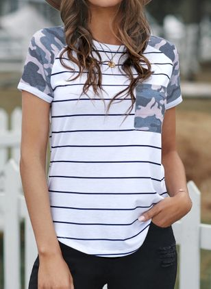 Stripe Round Neck Short Sleeve Casual T-shirts (147137947)