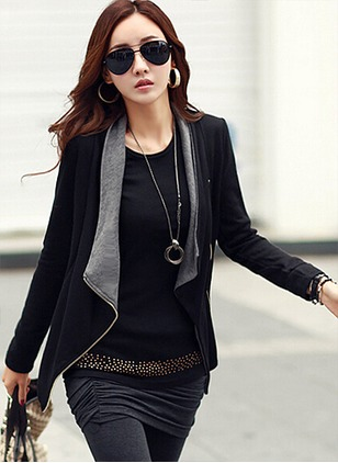 Long Sleeve Lapel Zipper Coats