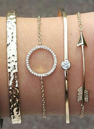 Casual Round Crystal Bangle Bracelets (4042963)