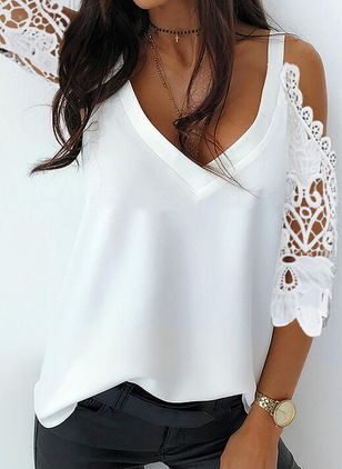 Solid Summer V-Neckline 3/4 Sleeves Blouses (146788700)