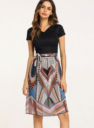 Color Block Short Sleeve Maxi A-line Dress