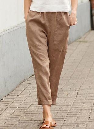Casual Loose Pockets Mid Waist Polyester Pants (122030764)