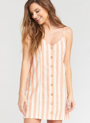 Stripe Buttons Slip Above Knee Shift Dress