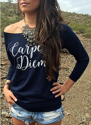 Cotton Alphabet Boat Neckline Long Sleeve Casual T-shirts
