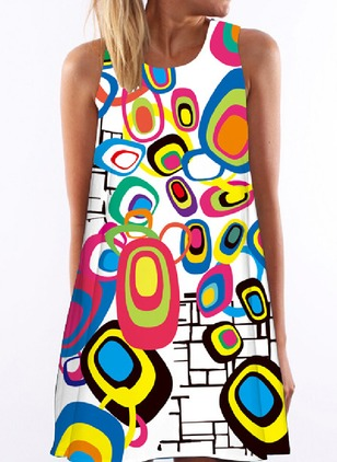 Color Block Tank Sleeveless Mini Shift Dress