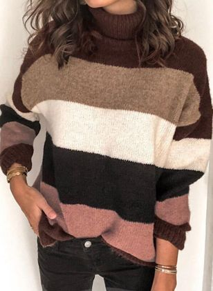 High Neckline Color Block Casual Loose Regular Shift Sweaters (109556180)