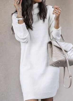 High Neckline Solid Elegant Loose Long Shift Sweaters (107561796)