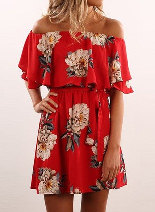 Floral Wrap Boat Neckline Half Sleeve A-line Dress