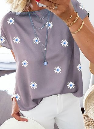 Floral Round Neck Short Sleeve Casual T-shirts (4864538)