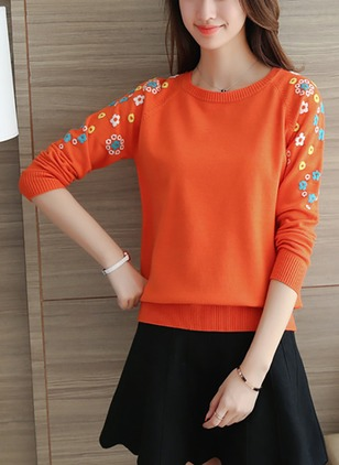 Polyester Round Neckline Floral Loose None Sweaters