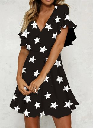 Casual Character V-Neckline Above Knee Shift Dress (101985459)