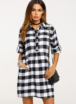 Plaid Buttons Shirt Collar Shift Dress