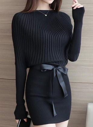 Solid Sweater Long Sleeve Above Knee Sheath Dress