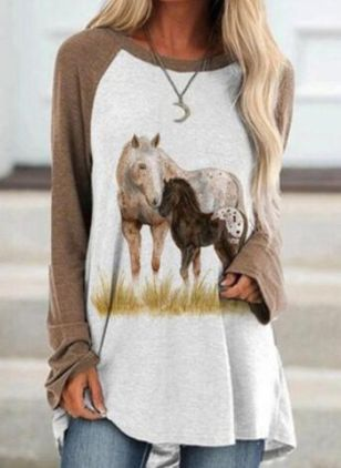 Animal Round Neck Long Sleeve Casual T-shirts (131286090)