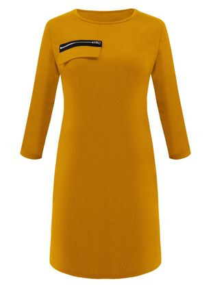 Solid Zipper Long Sleeve Knee-Length Shift Dress