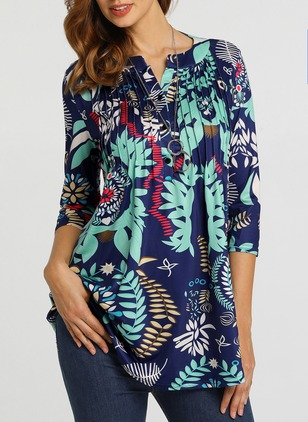Floral Casual Polyester Round Neckline Long Sleeve Blouses