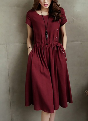 Solid Pockets Wrap Knee-Length A-line Dress