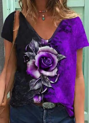 Floral V-Neckline Short Sleeve Casual T-shirts (147495739)