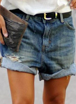 Casual Loose High Waist Polyester Shorts Jeans Pants (4127952)