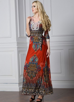 Floral Embroidery 3/4 Sleeves Maxi A-line Dress