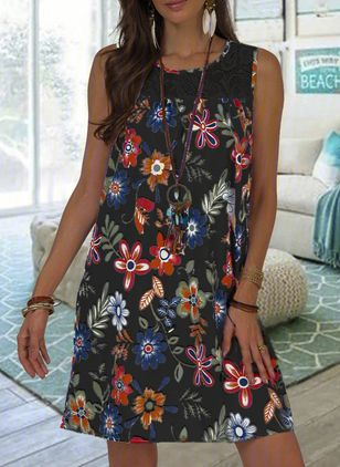 Casual Floral Tunic Round Neckline A-line Dress (5242972)