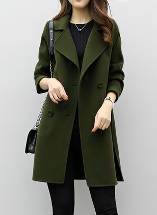 Long Sleeve Collar Pockets Trench Coats
